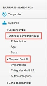 donnee demographiques centres d interet google analytics