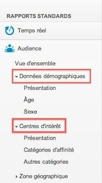 donnee demographiques centres d interet google analytics