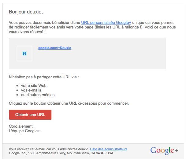 email-gplus-personnalisation-url