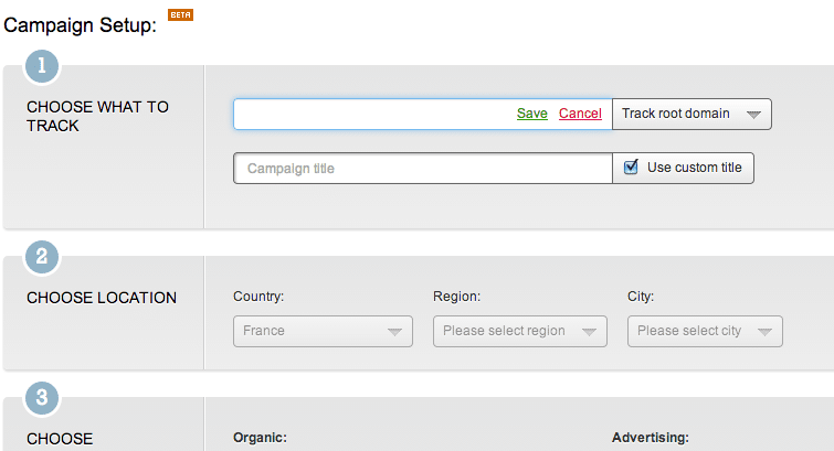 semrush create campaign track keywords rankings google