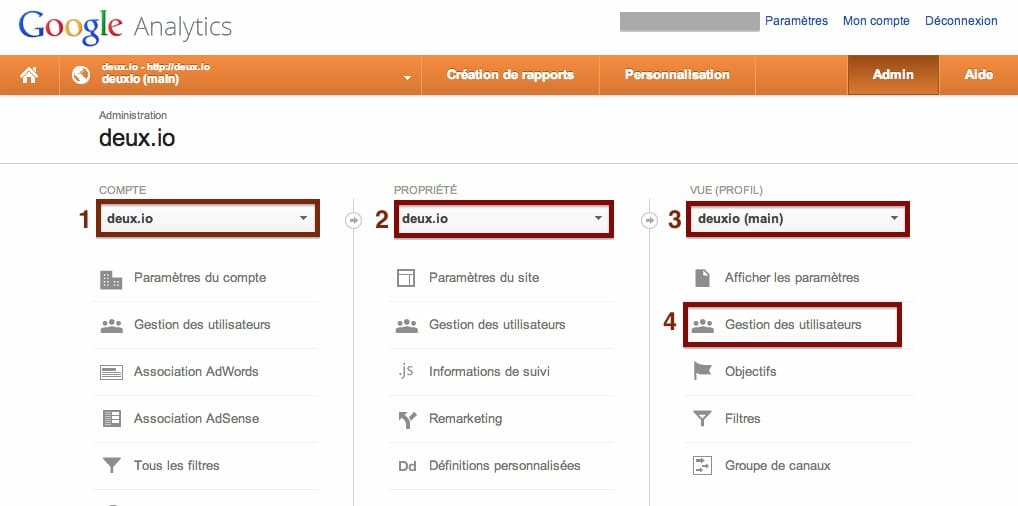 google analytics admin gestion des utilisateurs