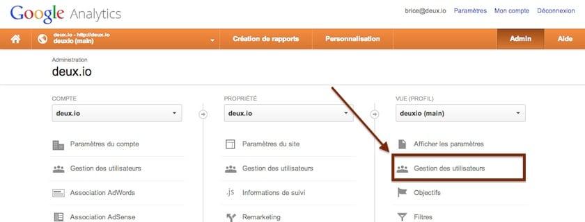 google analytics gestion des utilisateurs