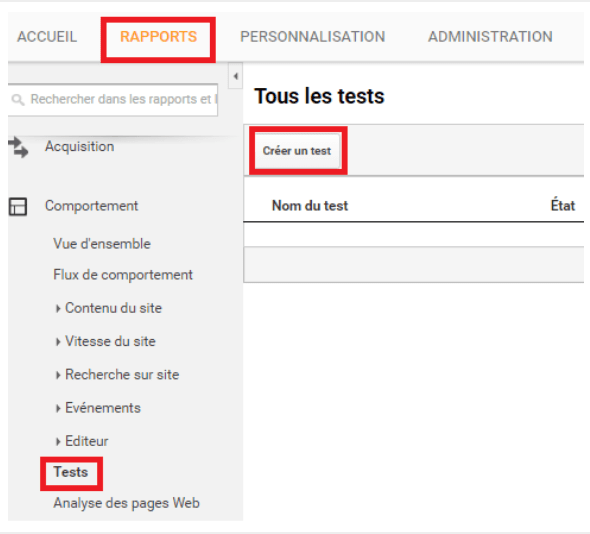 créer un test ab google analytics