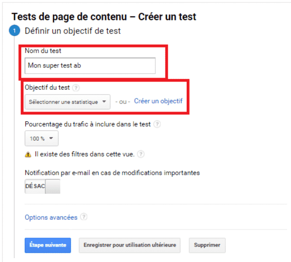 objectif test ab google analytics