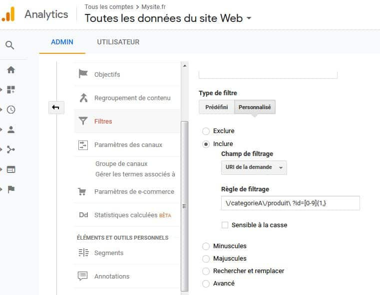 Regex Google Analytics Objectifs