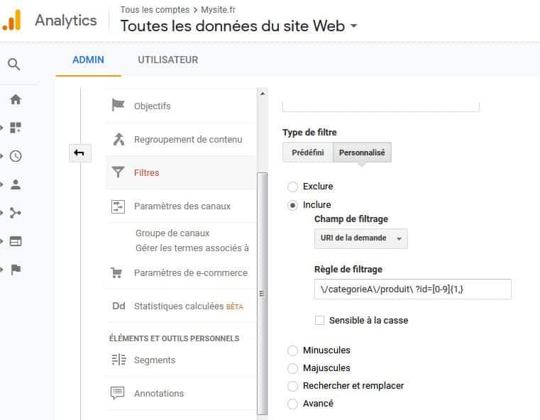 Regex Google Analytics Objectifs