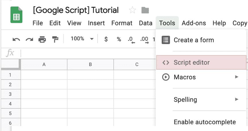 google sheet script menu
