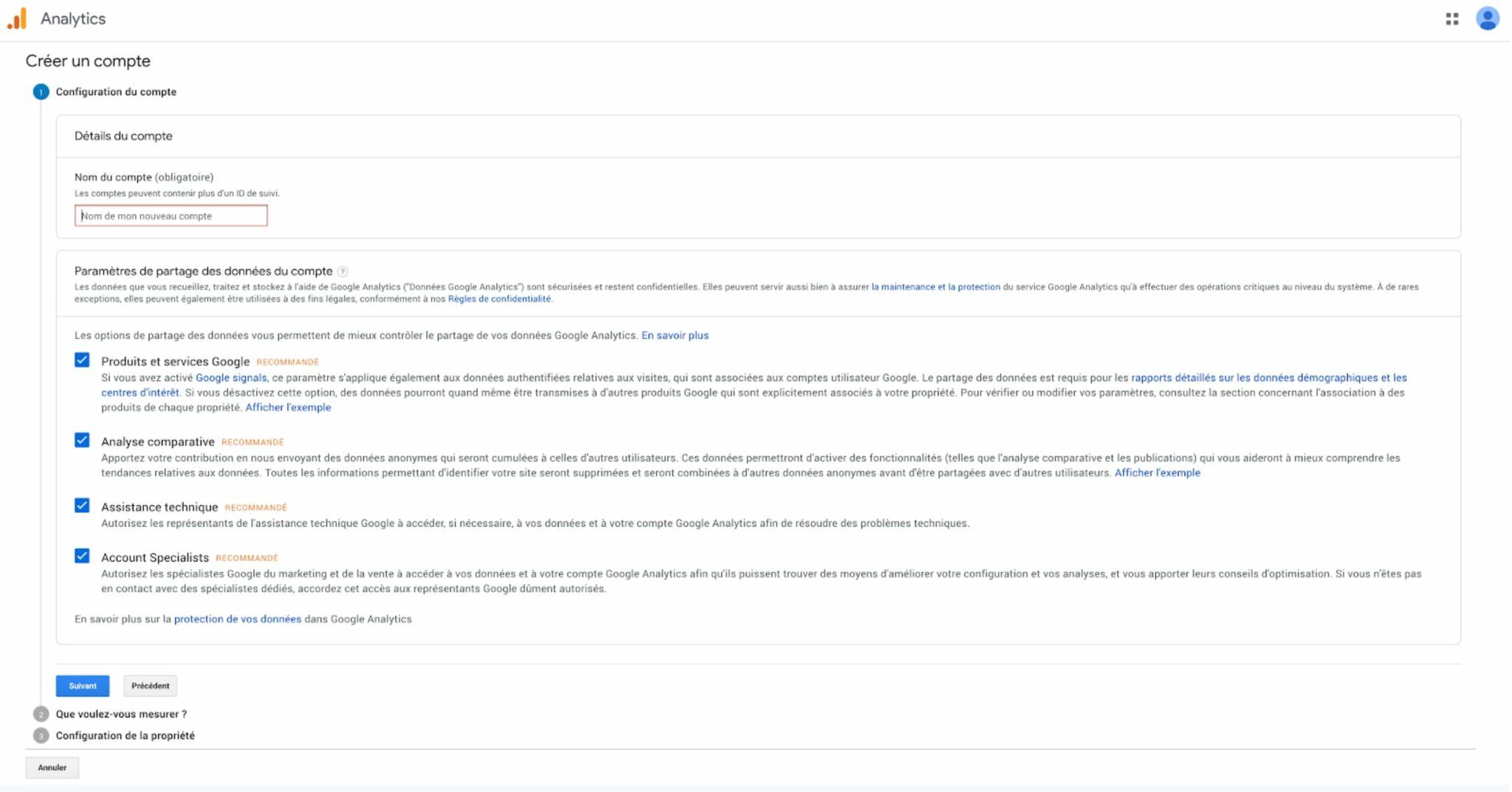 Google Analytics WordPress : Création du compte