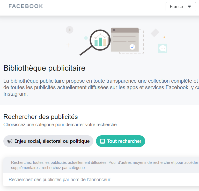 Page d'accueil Facebook Ads Library