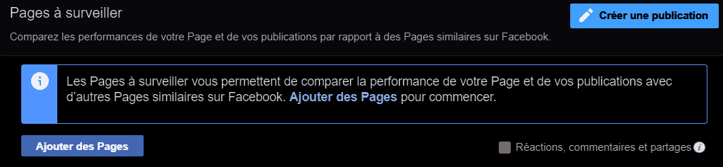 "Indication ""Pages à surveiller"" Facebook"
