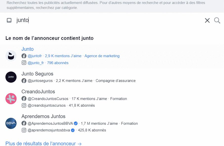 Recherche de Junto dans la Facebook Ads Library